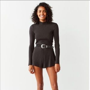 Out from Under Ribbed Open Back Romper New M